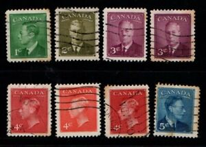 Canada 1949 1950 King George VI selection to 5c Used see note