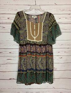 Umgee USA Boutique Women's Sz S Small Boho Short Sleeve Spring Tunic Top Blouse