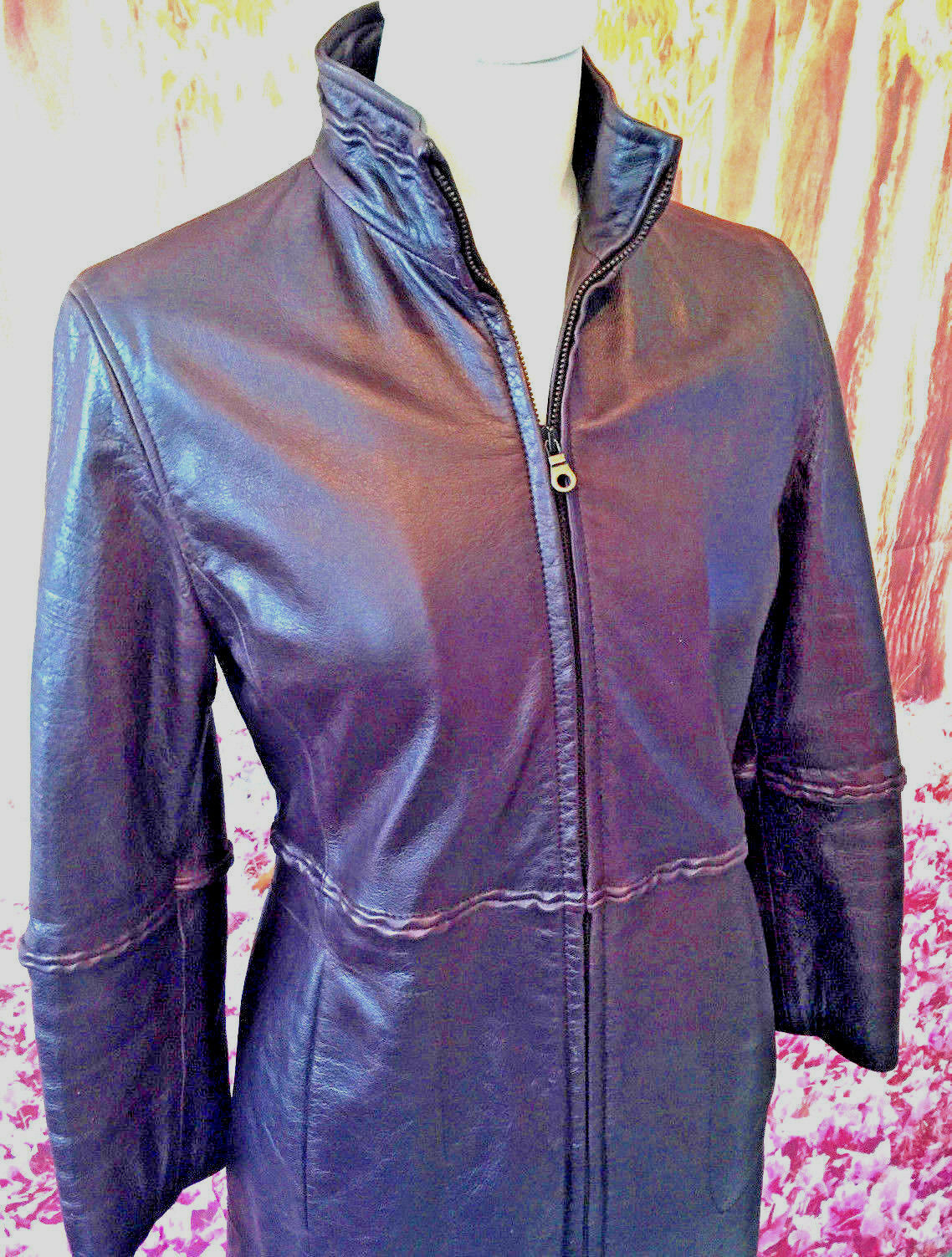 Armani real leather coat lambskin burgundy trench raincoat mac  zip 10 v