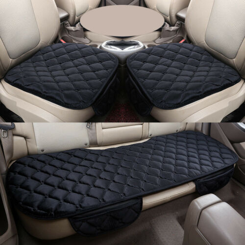 3D Plush//PU Leather Car Front//Rear Seat Cover Universal Protector Pad Cushion UK