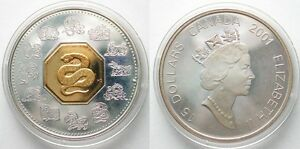CANADA-15-2001-YEAR-OF-THE-SNAKE-silver-w-gold-cameo-Proof-SCARCE-96054