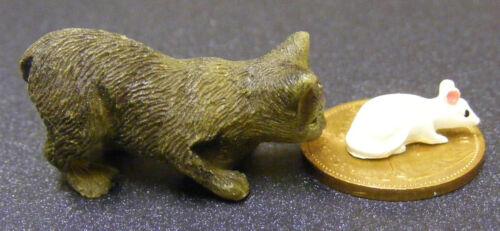 Gato atigrado resina de escala 1:12 /& White Mouse tumdee Casa De Muñecas En Miniatura De Mascotas