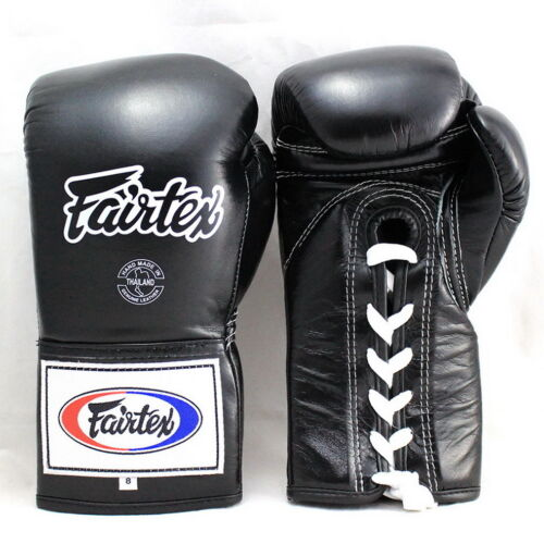 FAIRTEX MUAY THAI KICK BOXING GLOVES BGL6 BLACK COLOR SPARRING PRO COMPETITION
