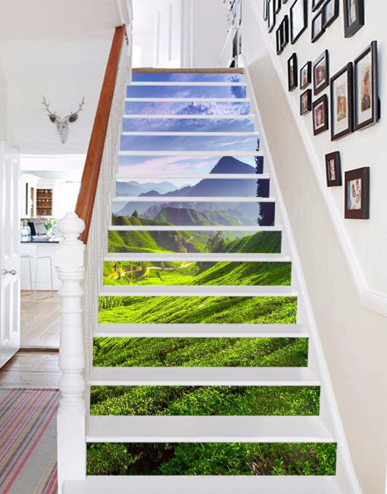 3D Tea Mountains 98 Stair Risers Decoration Photo Mural Vinyl Decal Wallpaper UK