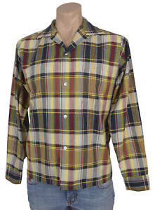 Vtg-50s-Nofade-ROCKABILLY-PLAID-SHIRT-Button-Front-Long-Sleeve-Top-Button-Loop-S