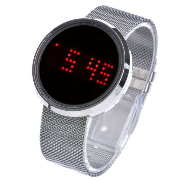 Men's Digital Touch Screen LED Mesh Metal Band Watch WM 8245 S