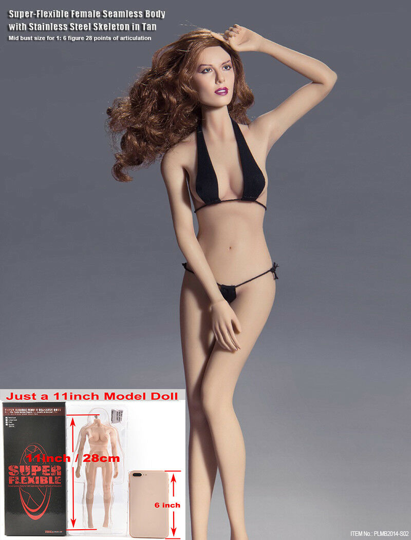 1 6 Tbleague súper Flexible De Acero Esqueleto Sin Costuras muñeca cuerpo femenino Busto medio