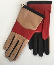 NWT Authentic Portolano Black / Red/ Beige Leather Silk Lined Gloves Size 7