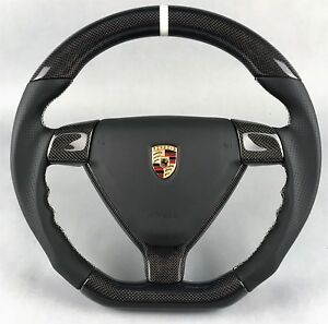 PORSCHE-997-987-MK1-PERFORMANCE-CARBON-AIRBAG-STEERING-WHEEL-LENKRAD-VOLANT