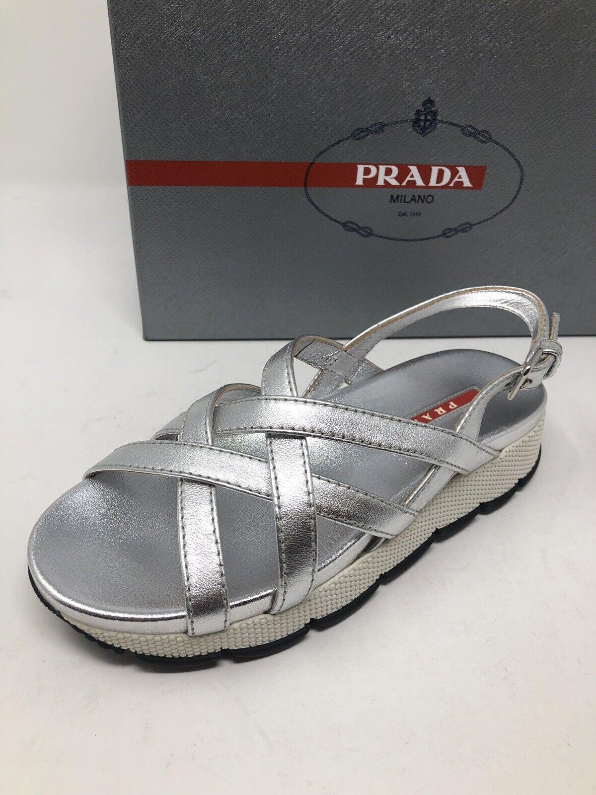 595 New PRADA Womens Silver Sandals Ladies shoes Size 6 US 36 EU