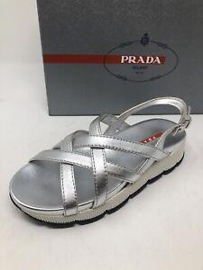 $595 New PRADA Womens Silver Sandals