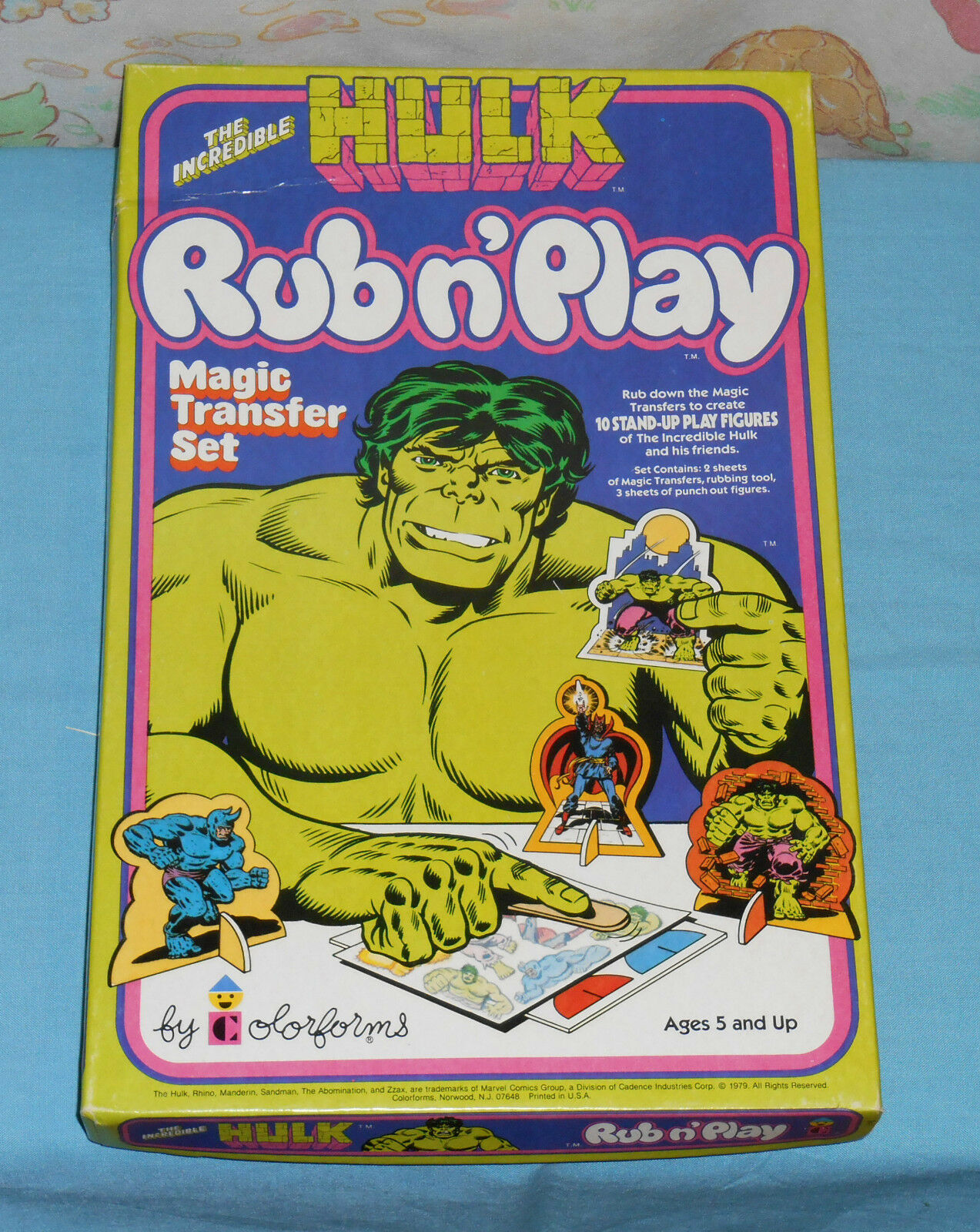 Vintage THE INCREDIBLE HULK RUB N' PLAY magic transfer set unused in box
