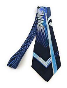 VITALIANO-PANCALDI-Tie-Multicolor-Blue-Black-Check-Wave-Italian-Necktie-MINT