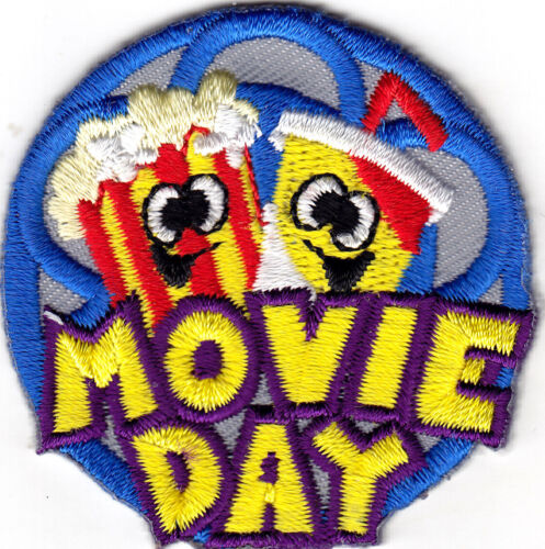 MOVIE DAY - Iron On Embroidered Patch/Food,Entertainment,Show,Movies, Popcorn