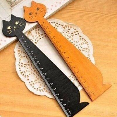 FD932 Korea Kawaii Cute Cat Kitten Face Stationery Wood Ruler Sewing Ruler 1pc:)