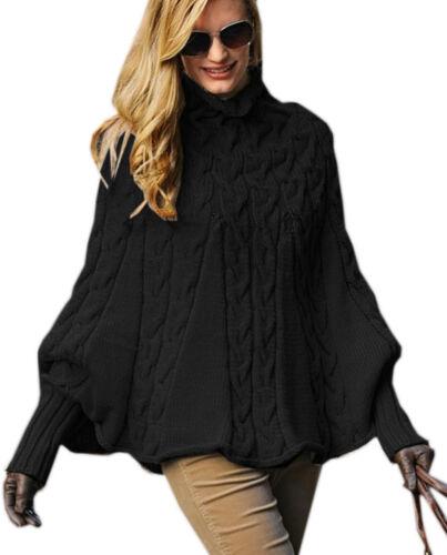 NEW Damen Poncho Rollkragen-Pullover mit Fledermausärmel Pulli Oversize warm 641