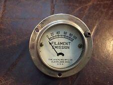 Vintage Sterling Filament Emission Meter Measures 0-100 Gauge