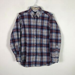 Vintage-Woolrich-Wool-Flannel-Men-039-s-Small-Plaid-Long-Sleeve-Button-Front