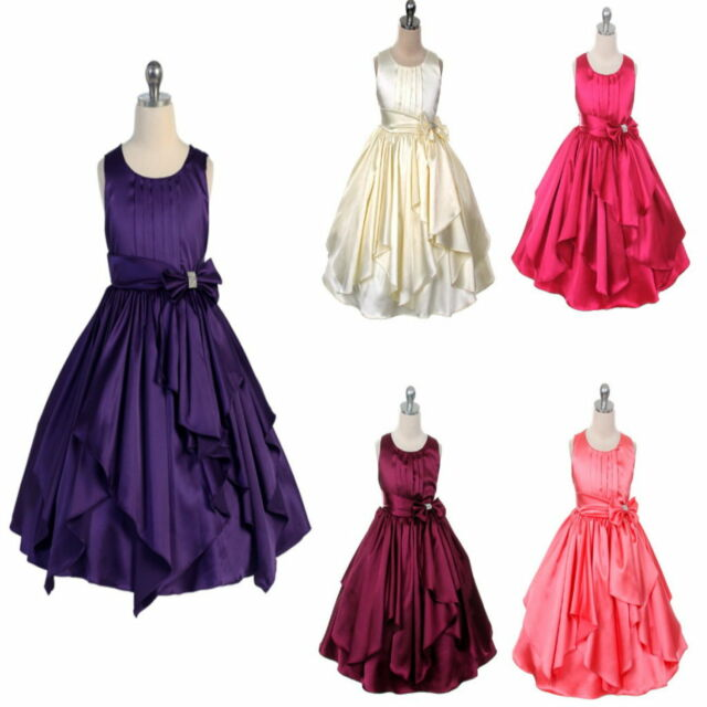 Satin Layers Flower Girl Dress Wedding Bridesmaid Girls Party Dress Purple Ivory