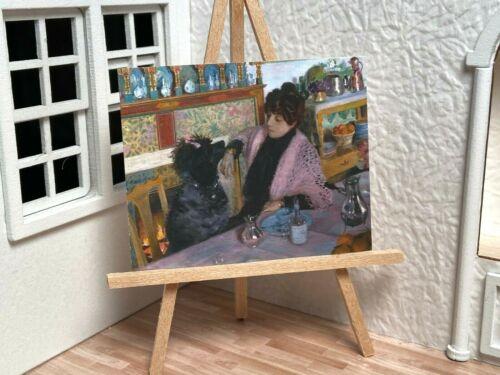 Miniature Dollhouse Room Box Art Cafe Woman with Poodle Portrait  Handmade