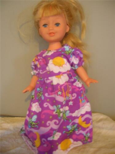 """DOLL CLOTHES BABY DOLL 11/"""" NIGHTGOWN PURPLE ELF PRINT"""