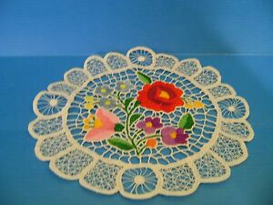 Hungarian KALOCSA HANDEMBROIDERED ROUNDTABLECLOTH DOILY LACE Multicolor Floral