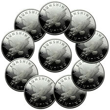 Lot of 10 - Sunshine Minting, Inc. 1 Troy Oz .999 Fine Silver Round SKU33371
