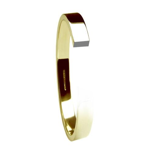 2.5mm 9ct Yellow Gold Wedding Rings Flat Profile Band 2.2g 375 UK Hallmarked H-Q