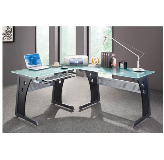 Glass Top Corner Computer Desk L Shaped Frosted Laptop Workstation Home  Office