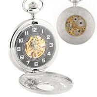 Silver Engraved Skeleton Case Men Mechanical Pocket Watch Chain Box Hand-winding