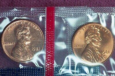 1981 P BU Lincoln Memorial Cent Mint Cello Sealed