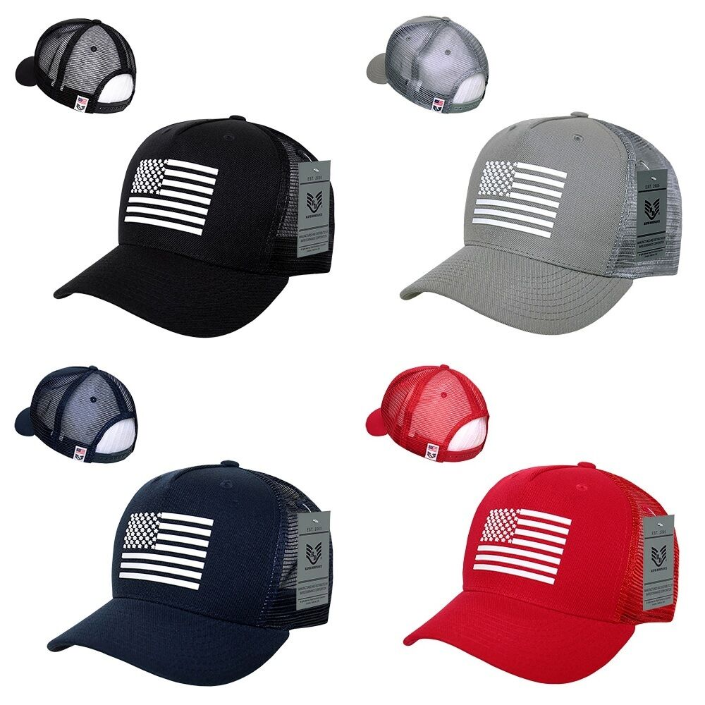 bbdefc464 Details about USA US American Rubber Flag Mesh Trucker Military Snapback  Baseball Hat Cap
