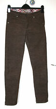NOA NOA XS UK8 EU36 BROWN CORDED STRETCH SKINNY TROUSERS WITH ZIP TO BACK ANKLES
