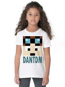 DAN-DTM-FACE-PIXELS-8-BIT-MINECRAFTER-GAMER-BLOGGER-CK09-KIDS-WHITE-T-SHIRT