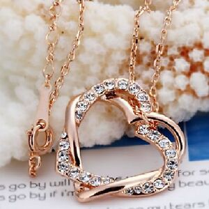 ENTWINED-HEARTS-ROSE-GOLD-PLATED-KP55-AUSTRIAN-CRYSTAL-NECKLACE-UK-SELLER