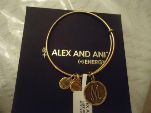Alex and Ani Initial  M Charm Bangle Bracelet  Russian Gold New W//Tag Card /& Box