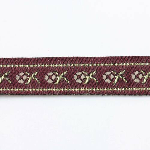 1 METRE 12mm PATTERNED EMBROIDERED RIBBON TRIM DESIGN FABRIC DRESSMAKING REB064