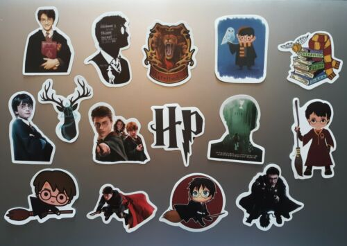 15 PCS Harry Potter Stickers Laptop Decals Decorate Stick On Wizard Fantasy