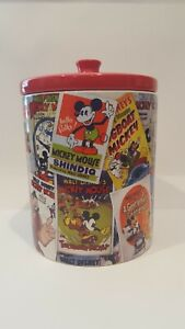 DISNEY-MICKEY-MOUSE-COLLAGE-VINTAGE-COOKIE-CANISTER-BEAUTIFUL-RARE-STEAMBOAT