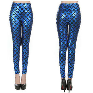Women-Mermaid-Leggings-Ariel-Dark-Blue-Fish-Scale-Halloween-Costume-S-XL-Cosplay