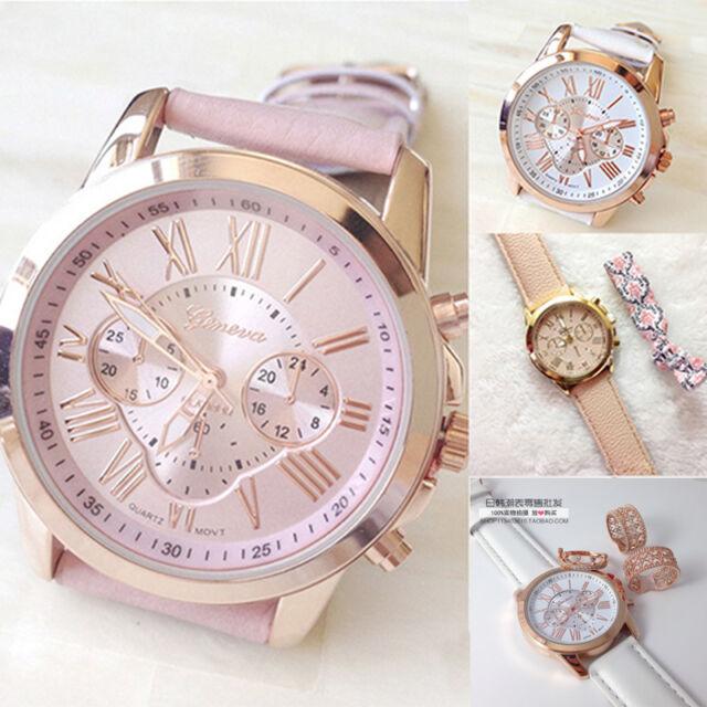 New Women's Fashion  Roman Numerals Faux Leather Analog Quartz Wrist Watch
