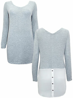 Next size 8 Lightweight Knitted Tunic Jumper Top Chiffon Panel Grey Ivory New