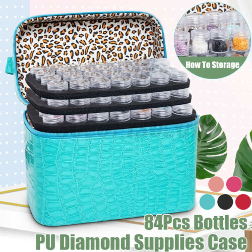 Diamond Painting Accessory Embroidery Case 84 Solts Storage Organizer w// Bottles