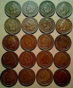 20-DIFF-INDIAN-HEAD-CENTS-1889-1908-Nice-Circ-Collection-20-Coin-Lot-Part-Roll