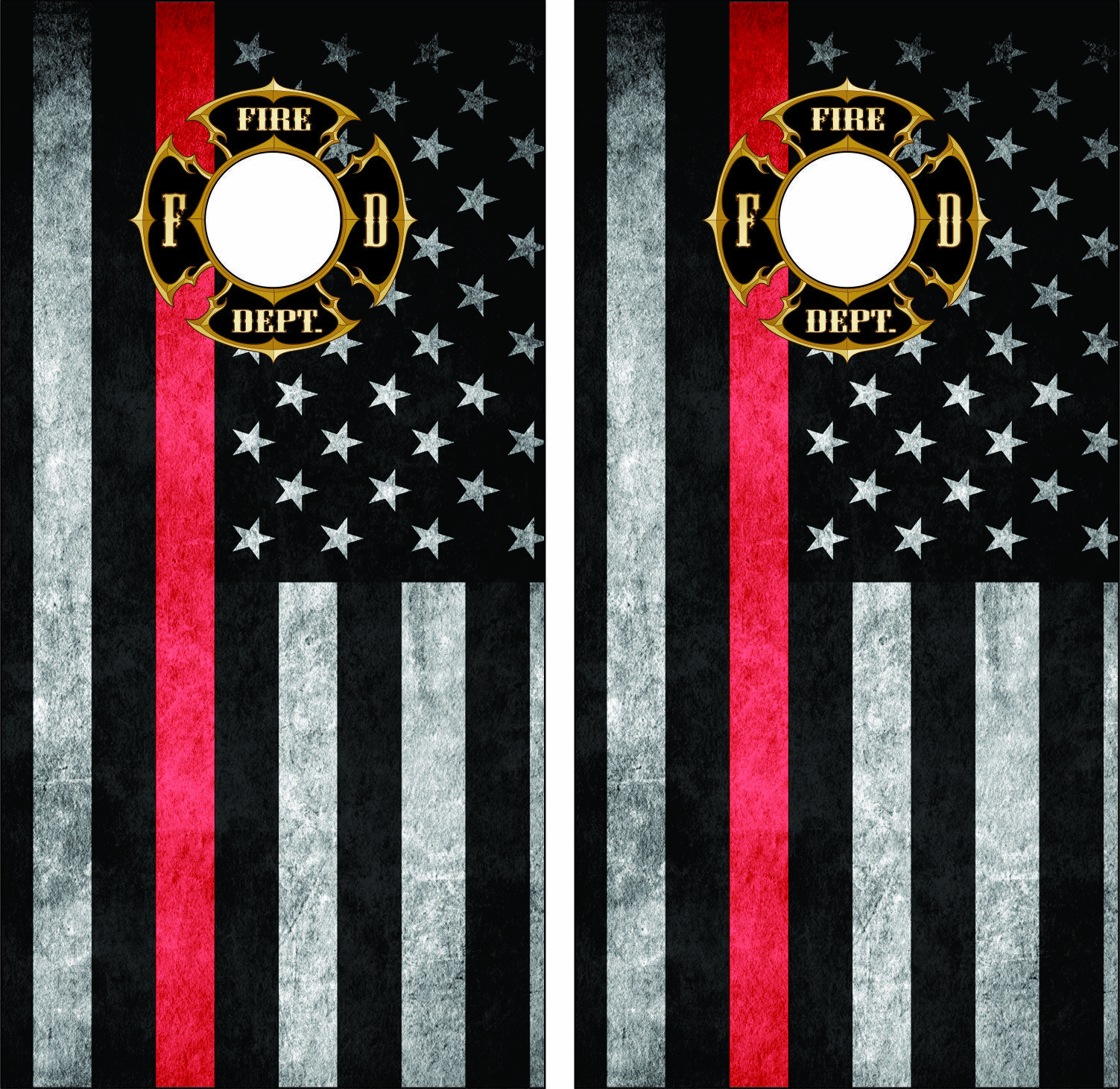 Thin Red Line Fire Department Seal  Cornhole Board Skin Wrap Decal SET -Laminated  your satisfaction is our target