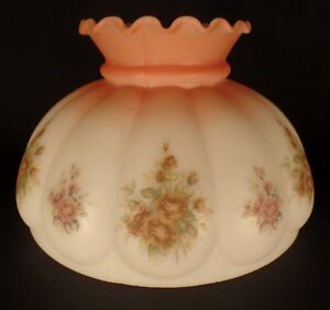 New-10-034-Opal-Glass-Melon-Lamp-Shade-Glamis-Roses-Scene-Rust-To-Satin-White-519