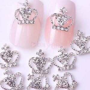 10Pcs-Silver-Tone-Crown-Shining-Rhinestone-Nail-Art-3D-DIY-Decoration-Cellphone