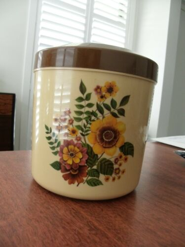 Retro vintage cookie sugar canister plastic brown flowers kitchen