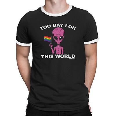 Homme trop Gay pour ce monde T-shirt Alien Rainbow Couleurs tee-shirt LGBT