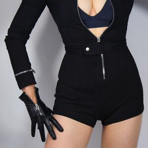 TECH-GLOVES-Real-Leather-Black-Wrist-Short-Zipper-Touchscreen-Lambskin-Sheepskin